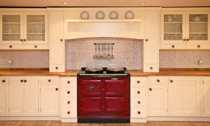 3 Shaker Kitchen Painted Wood Worktops Red Aga